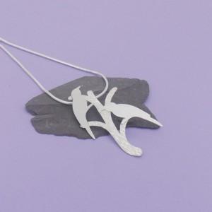 Love Birds in a Tree Pendant – Matt Silver