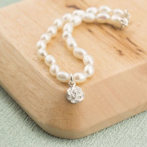 Pearl Bracelet with Silver Rose Blossom Charm