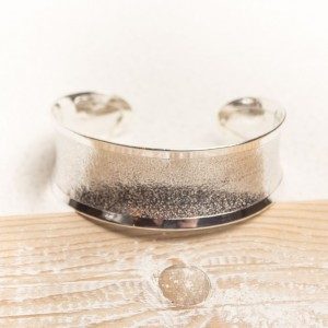 Silver Concave Textured Cuff