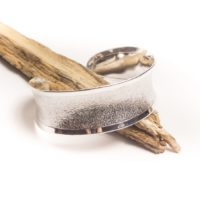 Silver Concave Textured Cuff Bangle