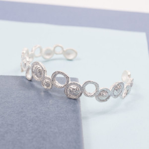 Silver Atom Cuff Bangle
