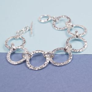 Silver Hammered Circle Bracelet