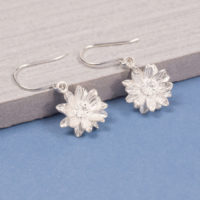 Silver Sunflower Drop Earrings