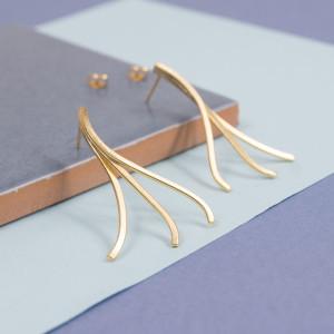 Silver Stream Stud Earrings
