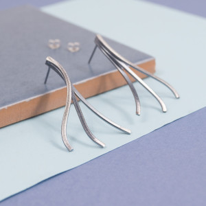 Silver Stream Stud Earrings