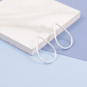 Silver Droplet Stud Earrings