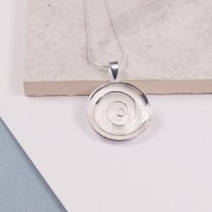 Silver Rose Swirl Pendant