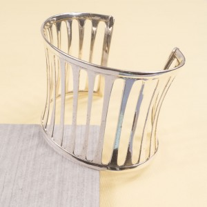 Silver Lineal Cuff Bangle