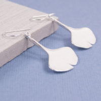 Satin Ginko Leaf Earrings