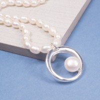 Freshwater Pearl Saturn Necklace
