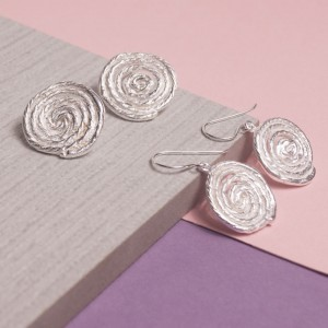 silver coiled rope earrings