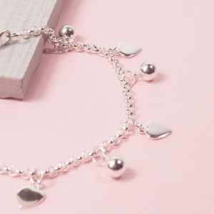 Silver Ball and Heart Charm Bracelet
