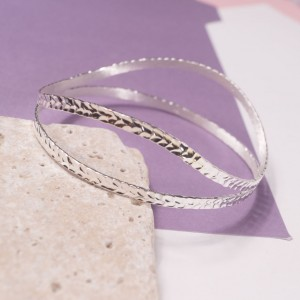 Silver Laurel Duo Bangle