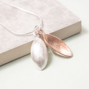 Silver and Rose Gold Pod Pendant