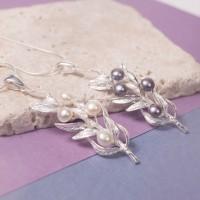 Silver Fern Leaf Pendant With Pearl