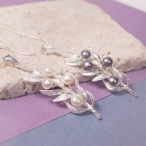 Silver Fern Leaf Pendant With Pearl