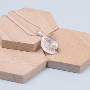 Silver Lily Pad with Pearl Pendant