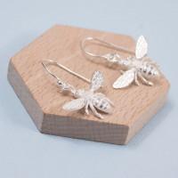 Silver Honey Bee Earrings