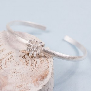 Silver Sunflower Cuff Bangle