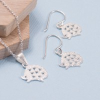 Silver Hedgehog Pendant and Earring Set