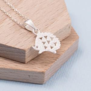 Silver Hedgehog Pendant and Earring Set