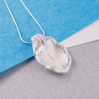 Silver Textured Leaf Pendant