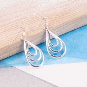 Silver Three Tears Drop Earrings
