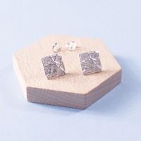 Silver Molten Square Studs