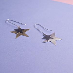 Silver Ara Star Earrings