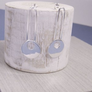 Silver Mimas Moon Earrings