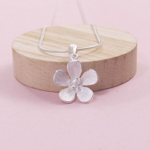 Silver Hibiscus Flower Pendant