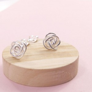 Silver Knotted Rose Studs