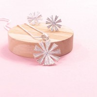 Silver Starburst Pendant and Earring Set