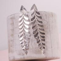Silver Caria Leaf Earrings