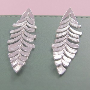 Silver Caria Leaf Earrings
