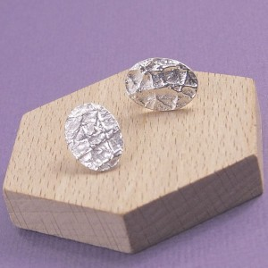 Silver Molten Oval Studs