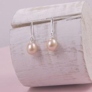 Silver Pearl Drop Studs