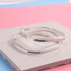 Silver Square Concave Bangle