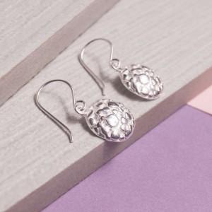 Silver Aero Moon Drop Earrings
