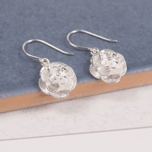 Silver Rose Blossom Earrings