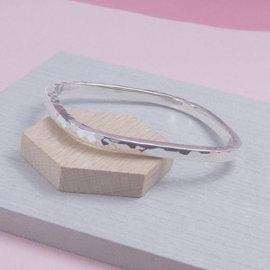 Silver Hammered Square Bangle