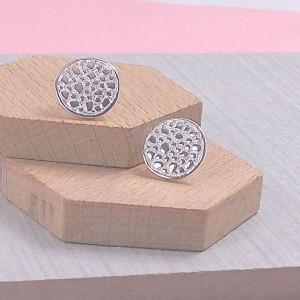 Silver Cobbled Stud Earrings